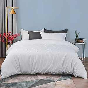 Cozytl bedding Queen Duvet Cover Set Brushed Microfiber 3 Pieces (1 Duvet Cover + 2 Pillow Shams) Ultra Soft and Easy Care Breathable Bedding Set with Corner Ties, White - 90 x 90 Inches
