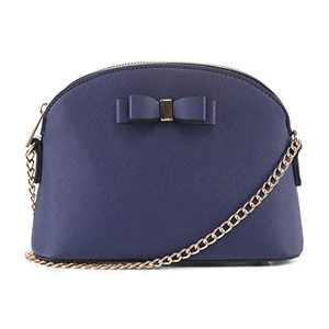 EMPERIA Eva Small Cute Saffiano Vegan Faux Leather Dome Crossbody Bags Shoulder Bag Purse Handbags for Women Blue