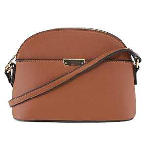 EMPERIA Ava Small Cute Saffiano Vegan Faux Leather Dome Crossbody Bags Shoulder Bag Purse Handbags for Women Cognac