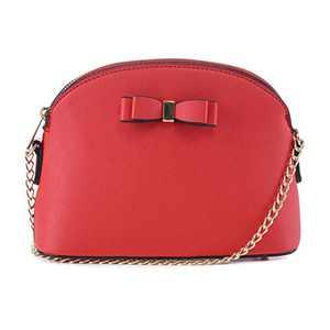 EMPERIA Eva Small Cute Saffiano Vegan Faux Leather Dome Crossbody Bags Shoulder Bag Purse Handbags for Women Red