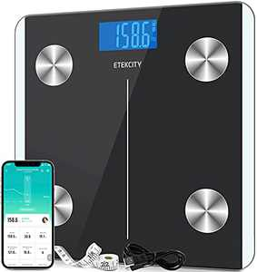 Etekcity Scales for Body Weight, Bathroom Digital Weight and Body Fat Scale for BMI, Rechargeable Smart Bluetooth Body Composition Analyzer, Sync Data with Other Fitness Apps