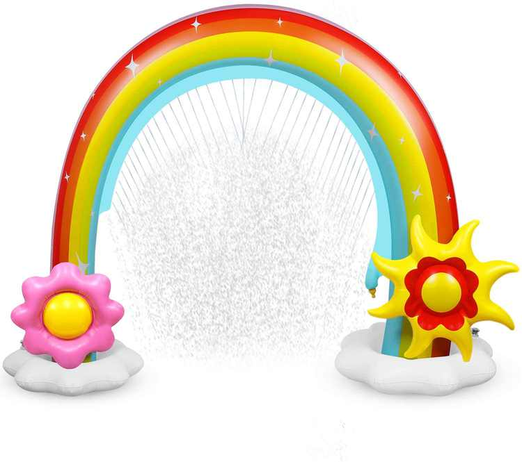 Anpro Inflatable Rainbow Yard Summer Sprinkler Toy, Over Size, Perfect for Summer Toy List, Rainbow Arch Lawn Beach Outdoor Toy