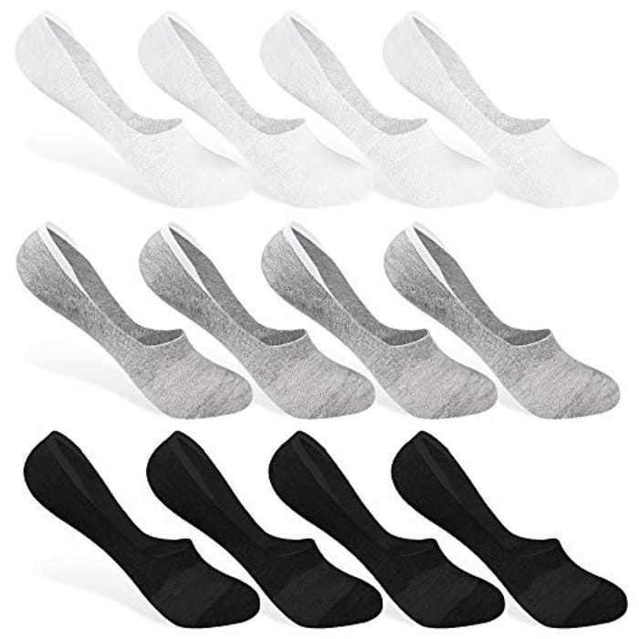 Rovtop 12 Pairs Cotton Low Cut Socks, Unisex Non Slip Breathable Mesh Invisible Socks Set, No Show Boat Socks for Men and Women,with Eco-Friendly Gift Box,(Black, White, Gray)