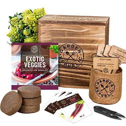 Indoor Vegetable Garden Seeds Starter Kit - 4 Non-GMO Heirloom Seeds for Planting Vegetables, Soil, Pots, Plant Markers, Trimmers, Wood Planter Box, DIY Veggie Growing Kit, Home Gardening Gifts