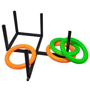 Macro Giant Ring Toss Game Set, 4 Colorful PU Foam Rings, 5 Targets, Indoor Outdoor Garden Game for Kids and Family