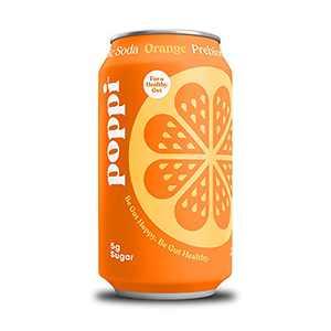 poppi A Healthy Sparkling Prebiotic Soda, w/ Real Fruit Juice, Gut Health & Immunity Benefits, 12pk 12oz Cans, Orange