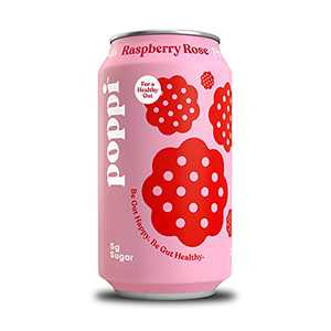 poppi A Healthy Sparkling Prebiotic Soda, w/ Real Fruit Juice, Gut Health & Immunity Benefits, 12pk 12oz Cans, Raspberry Rose