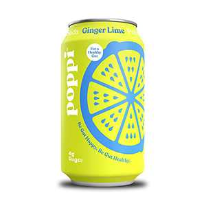 poppi A Healthy Sparkling Prebiotic Soda, w/ Real Fruit Juice, Gut Health & Immunity Benefits, 12pk 12oz Cans, Lime Ginger