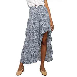 Exlura Womens Pleated Skirt Irregular Hem Floral Printed Midi Skirt with Pockets