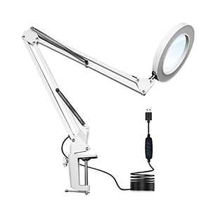 Top-Spring LED Magnifying Lamp Metal Swing Arm Magnifier Lamp - Stepless Dimming, 3 Color Modes, 5X Magnification, 4.1 Diameter Glass Lens, Adjustable Industrial Clamp for Reading/Office/Work (White)