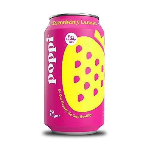 poppi A Healthy Sparkling Prebiotic Soda, w/ Real Fruit Juice, Gut Health & Immunity Benefits, 12pk 12oz Cans, Strawberry Lemonade