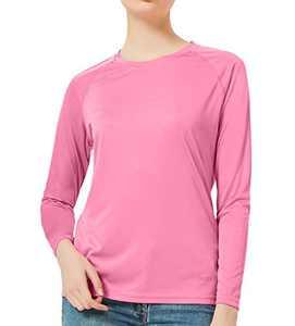 DEMOZU Women's Long Sleeve UPF 50+ Sun Protection Shirt Lightweight Quick Dry Fishing Hiking Running Outdoor Performance UV Shirt,Pink,XL