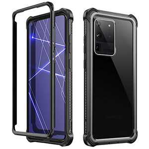 Dexnor Case for Samsung Galaxy S20 Ultra Without Screen Protector, Clear Hard PC Cover and Silicone Edges Shockproof Protective Bumper Defender Rugged Samsung S20 Ultra Case 5G for Men/Women - Black