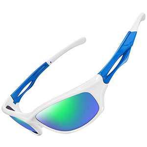 Joopin Polarized Sport Sunglasses for Men Women UV400 Sports Sun Glasses (Green Mirrored Lens)