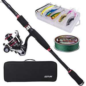 Goture Travel Fishing Pole case, 8ft Carbon Fiber Collapsible Fishing Rod with Spinning Reel, Lures, Line, Carrier Bag Fresh&Saltwater Bass Trout Fishing