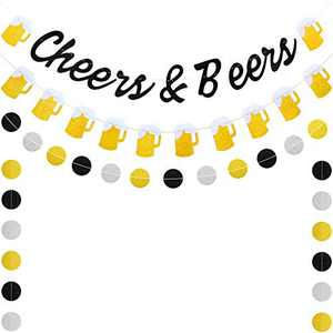 3 Pieces Cheers & Beers Banner Gold Beer Banner Black Glittery Circle Dots Garland for Graduation Wedding Anniversary Birthday Party Supplies