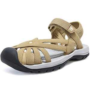 CAMEL CROWN Women's Hiking Sandals Sport Water Athletic Comfortable Walking Closed Toe Sandals for Outdoor Beach Apricot 8.5