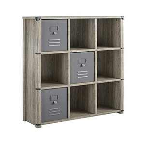 Little Seeds Nova 9 Cube Storage Grey Bookcase, Gray Oak