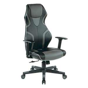 OSP Home Furnishings Rogue High-Back LED Lit Gaming Chair, Black Faux Leather With Grey Trim and Accents