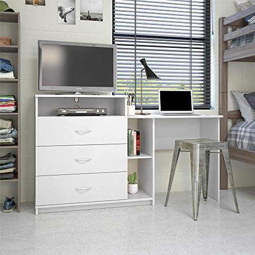 Ameriwood Home Rebel 3 in 1 Media Desk Combo, White Dresser
