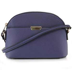 EMPERIA Ava Small Cute Saffiano Vegan Faux Leather Dome Crossbody Bags Shoulder Bag Purse Handbags for Women Blue