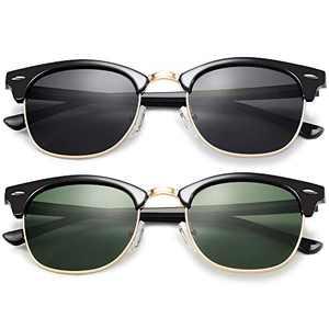 KANASTAL Semi Rimless Polarized Sunglasses for Men Women, Designer Retro Black Gold Frame Sunglasses for Women, Horn rimmed Sunglasses UV Protection (2 Pack Black Lens + G15 Lens)