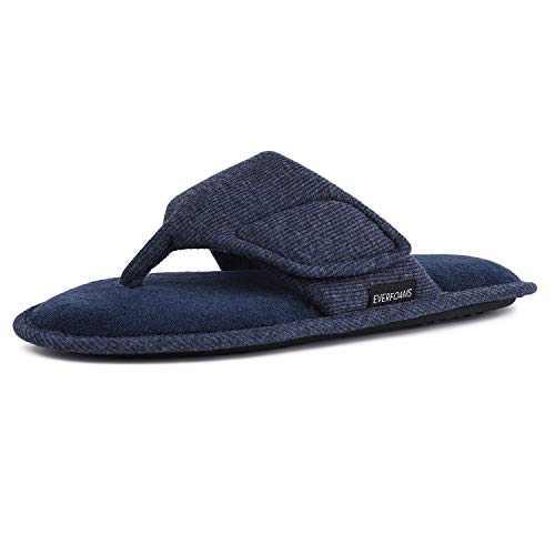 EverFoams Men's Memory Foam Flip Flops Open Toe Thong Spa Slippers with Adjustable Hook and Loop (Size 13-14 M, Navy Blue)