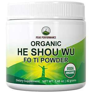 He Shou Wu Organic Fo Ti 50:1 Root Powder by Peak Performance. Organic Raw Whole Food Plant Based Vegan Fo-Ti Supplement. from Polygonum Multiflorum Roots