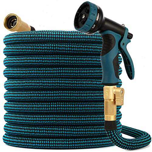 kegemor Garden Hose 100ft ,Flexible Lightweight Water Hose With 9 Way Nozzle,Durable 4-layer Latex Core,3/4inch Solid Brass,Easy Store No Kink Leakproof Yard Outdoor Pipe
