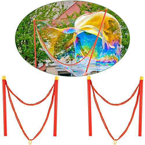 2 Pieces Bubble Wands Giant Bubble Wands for Outdoor Activities Making Bubble Tools Supply (40 cm, Red)