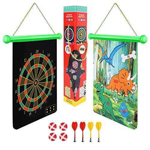 BeebeeRun Magnetic Dart Board Game for Kidsand Adult,Indoor Outdoor Games,Roll-Up Double-Sided Dinosaur Dart Board,Easily Hangs Anywhere, Easter Gifts for Teenage Boys