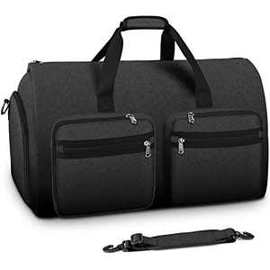 Carry On Garment Bag Convertible Large Suit Bags for Men Women Waterproof 2 in 1 Travel Duffle Bag Weekend Bag with Shoe Compartment Black