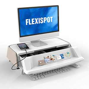 FlexiSpot Monitor Stand Riser Workstation Laptop Stand Computer Riser with Storage Drawer USB Charging Port (Light Tan)