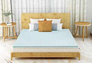 Milemont Full Size Gel Swirl Memory Foam Mattress Topper 1.5 Inch Ventilated Cooling Foam Mattress Pad for Full Bed, Blue