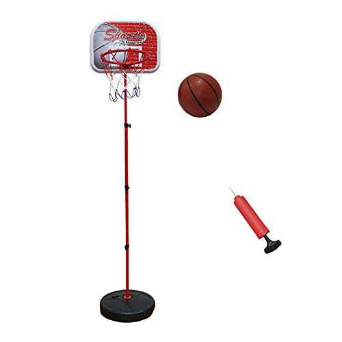 Macro Giant Portable Basketball Hoop Stand, with 1 Inflatable Ball, 1.9~4.7 feet Height, Indoor Outdoor Garden Game for Kids, Families