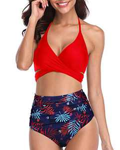 Aqua Eve Women Halter Bikini High Waisted Swimsuits Cross Wrap Two Piece Strappy Bathing Suits Red L