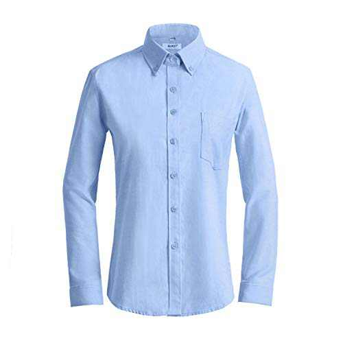 MGWDT Button Down Shirt Women Long Sleeve Blouse Oxford Shirt Classic-Fit Cotton Tops Wrinkle Resistant XX-Large Light Blue