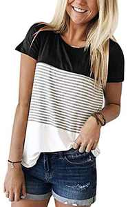 Womens Summer Color Block Striped Tee Shirts Casual Loose Short Sleeve Blouses Tops for Juniors Black