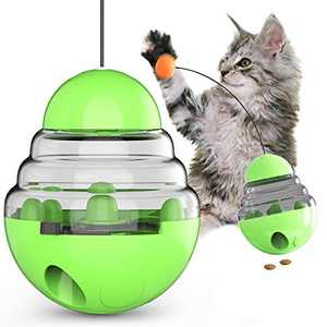 USWT Cat Toy Kitten Toys Cats Supplies Slow Feeder Food Dispenser Funny Tumbler Interactive Puzzle Kitty Teaser Stick for Indoor Cats Improve IQ
