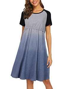 SUNNYME Women Maternity Nursing Dress Nightgown Summer Delivery Labor Hospital Breastfeeding Nightshirt Sleepwear Dress Short Sleeve-Grey XXL