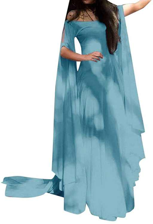 KPILP Womens Maxi Dress Solid Color Batwing Long Sleeve Off The Shoulder Slim fit A-line Swing Floor Length Elegant Evening Party Club Fashion Long Dresses