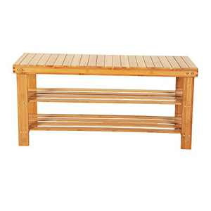 """3 Tier Shoe Rack Bench 35"""" Bamboo Wood Shoe Storage Shelf Shoes Organizer Stool for Entry Way Over the Door 550 LBS Max Loading (35.43 x 11.02 x 17.72)"""" (L x W x H) (Wood Color)"""