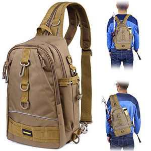 PLUSINNO Fishing Tackle Backpack Storage Bag,Outdoor Shoulder Backpack,Fishing Gear Bag,Water-Resistant Fishing Backpack with Rod Holder-TQS