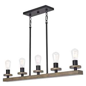"""Kira Home Bradford 35"""" 5- Light Modern Farmhouse Linear Chandelier for Dining Room, Kitchen or Pool Table, Smoked Birch Wood Style + Black Finish"""