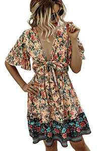 Minipeach Women's Summer Self Tie Bohemian Floral Pattern Ruffle A Line Beach Mini Maxi Dresses Pink