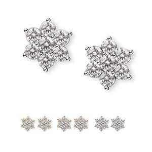 SWEETV Cubic Zirconia Stud Earrings for Women Girls, Rhinestone Hypoallergenic Flower Earrings Studs for Sensitive Ears, Nickel Free Cute Dainty Earrings, Silver