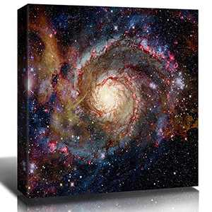Galaxy Wall Decor Cosmic Nebula Starry Sky Wall Art Canvas Outer Space Starlight Modern Artwork Painting Prints Picture Living Room Bedroom Home Decorations Ready to Hang 12x12 Inch x 1 Panel