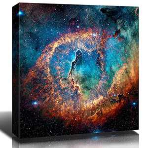 "Nebula Wall Art Painting Prints on Canvas Wall Decor ""Eye of God"" Outer Space Starlight Modern Artwork Pictures Galaxy Astronomy for Boy's Bedroom Home Decorations 12x12 Inch x 1 Panel"