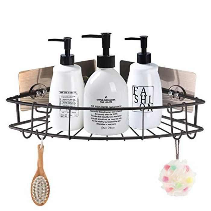 GEMITTO Shower Caddy, Self-adhesive Corner Shelf Shower Organizer Rack SUS304 Stainless Steel with 3 Stickers+2 Hooks, No Drilling for Shampoo Conditioner Kitchen Spice Storage Brown
