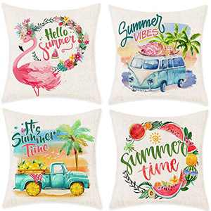 Bonsai Tree Summer Pillow Covers, Hello Summer Time Wreath Watermelon Pillow Cases 18x18 Inches, Flamingo Pineapple Linen Throw Pillow Covers Ice Cream Truck Home Decor for Sofa Couch Set of 4